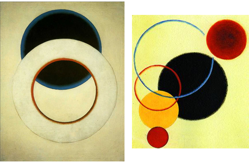 White circle, 1918 and Objectless composition no 65, 1918 by Alexander Rodchenko