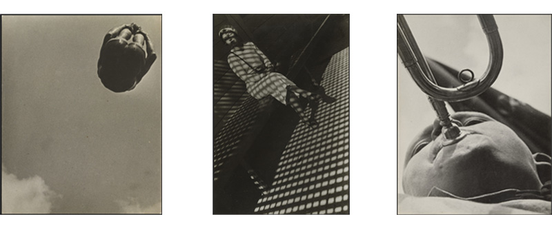 Dive, 1934, Girl with a Leica, 1932 and Pioneer with a bugle by Alexander Rodchenko