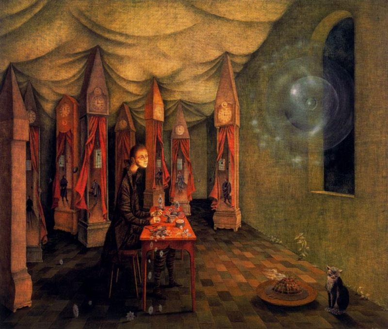 """Remedios Varo, Revelación (El relojero)"""", 1955"""