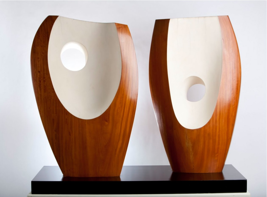 Two Forms with White (Greek) 1963, Sculpture by Barbara Hepworth